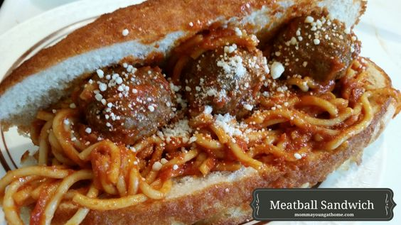 Spaghetti and Meatball Sandwich