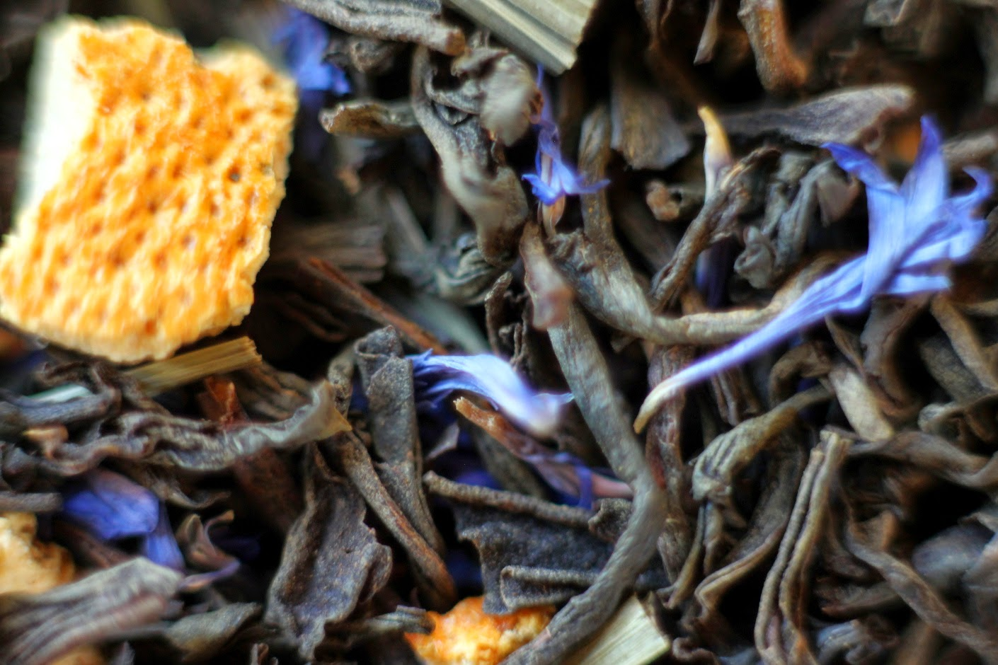 Russian Earl Grey Tea with lemongrass, orange peel, and hyacinth flowers.