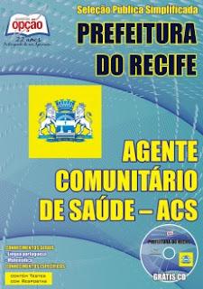 Apostila concurso ACS Prefeitura do Recife seleção Agente Comunitário de Saúde