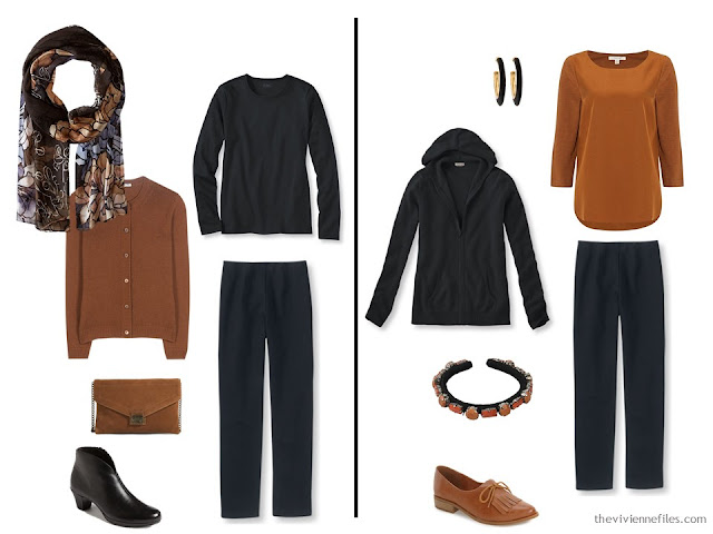 Capsule wardrobe colour palette inspiration - a dash of cinnamon with black