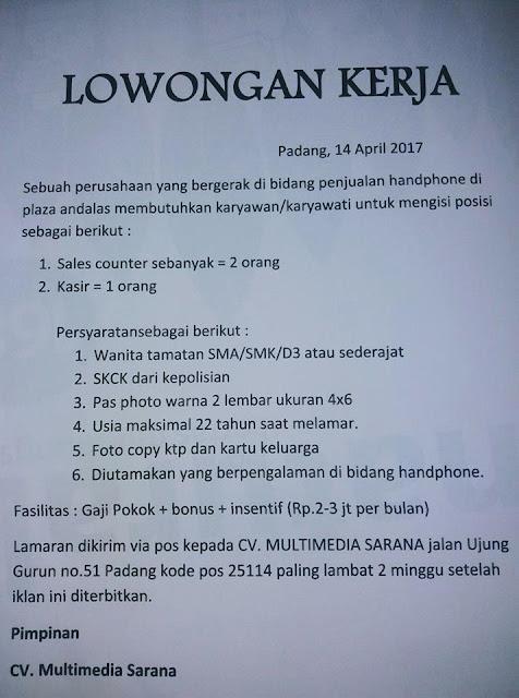 Lowongan Kerja Padang: CV. Multimedia Sarana April 2017