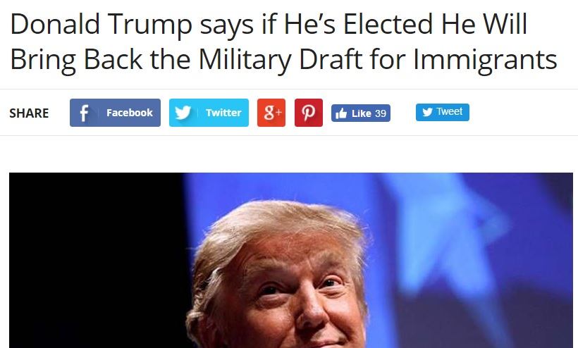 bringing back the draft The mention of donald trump bringing back a military draft has been swept under the rug people laugh it off as satire, comedy skit, fake new and everything else.