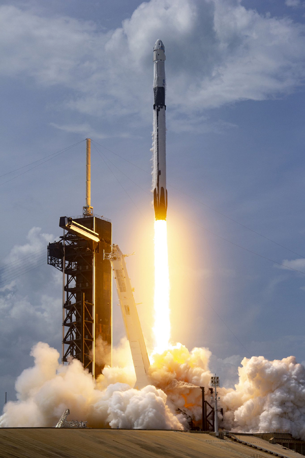 A Falcon 9 rocket carrying the Crew Dragon capsule Endeavour lifts off from Launch Complex 39A at NASA's Kennedy Space Center in Florida...on May 30, 2020.