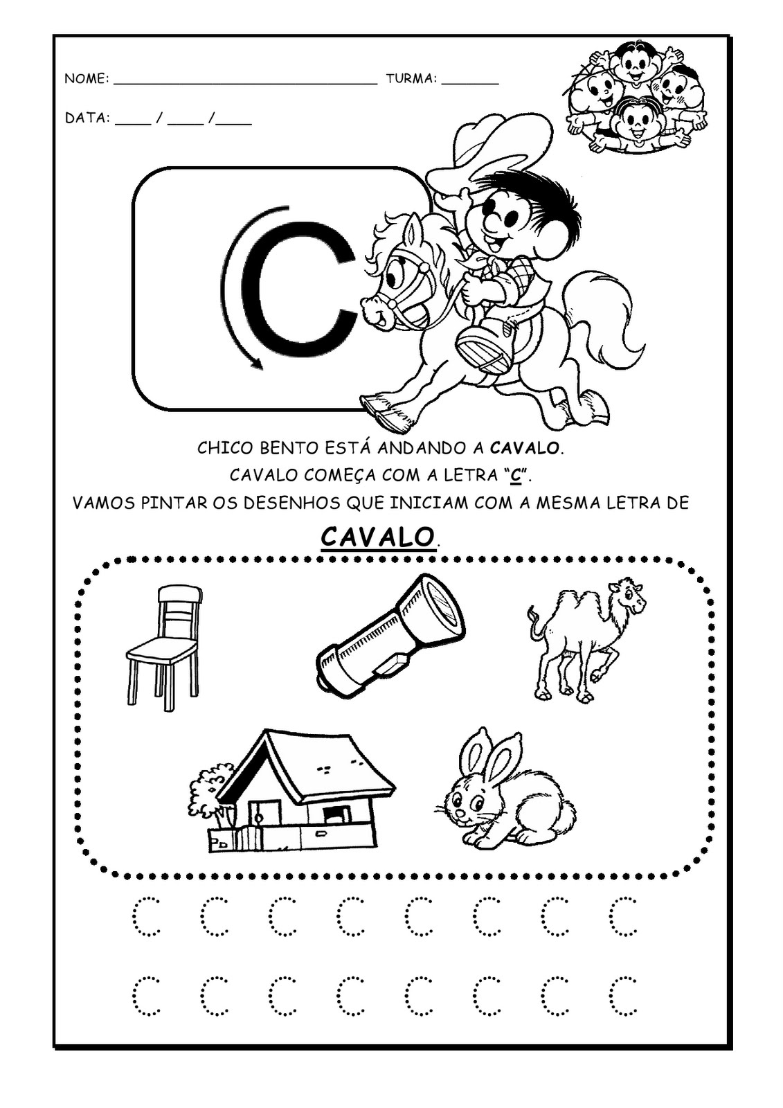 Da pá virada: Atividades com Alfabeto letra inicial