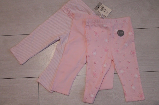 asda three pack of baby leggings pink floral frilly bum