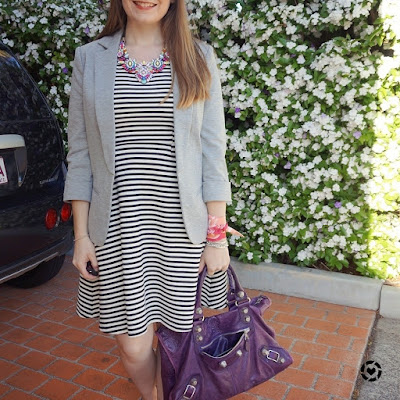 awayfromblue instagram fit and flare dress stripe grey jersey blazer purple bag pink twilly