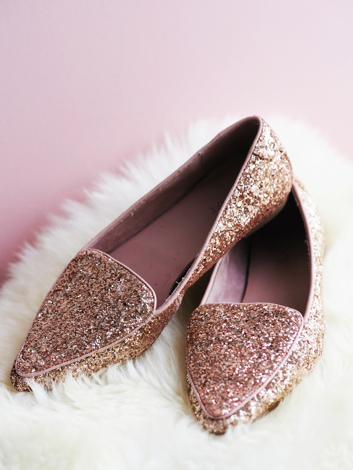 Summer Shoe Staples Next Rose Gold Glitter Flat Shoes Sparkly