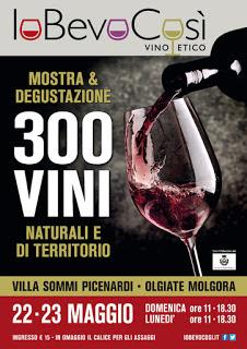 IoBevoCosì degustazione di 300 vini Naturali 22 e 23 Maggio Olgiate Molgora (LC)