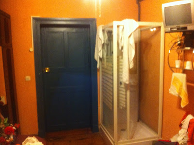 In all my travels, I've never seen a shower in the bedroom like this
