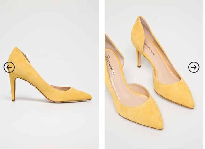 Solo Femme - Pantofi cu toc galbeni cu decupaj piele naturala intoarsa