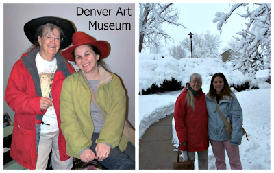 Grandma and granddaughter standing in the snow in Boulder, Colorado