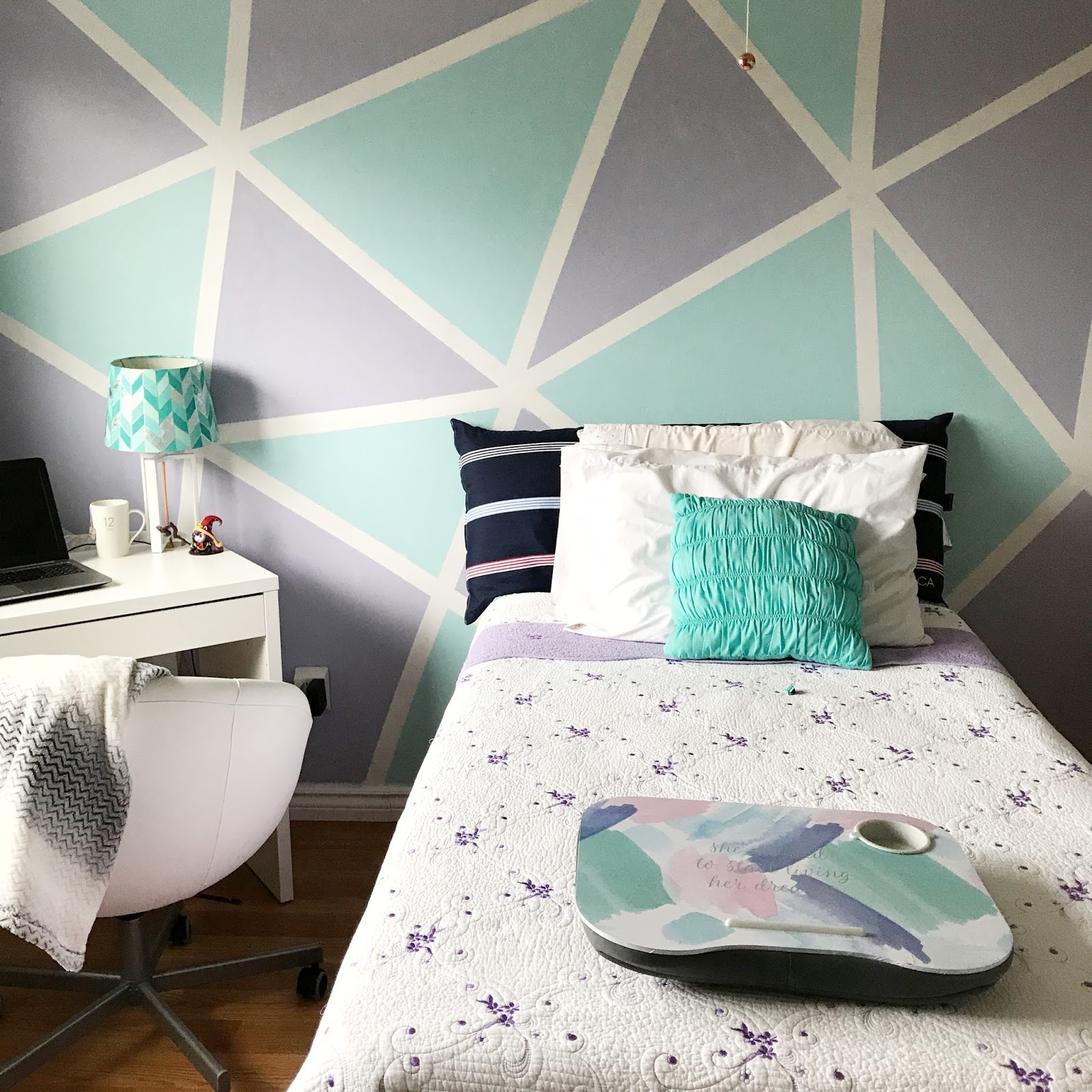 I Thought It Would Be Fun To Add A Pop Of Colour To My Bedroom By Adding An  Accent Wall Since All Of My Other Walls Are White.