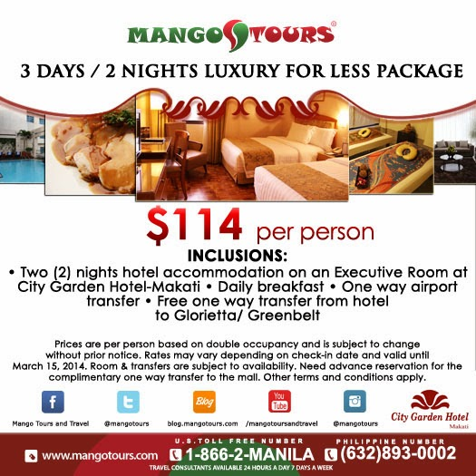 Mango Tours City Garden Hotel Makati 3D/2N Luxury for Less Package