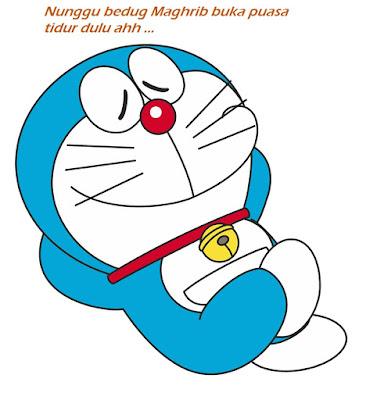Gambar Doraemon Tidur Nunggu Buka Puasa Ramadhan