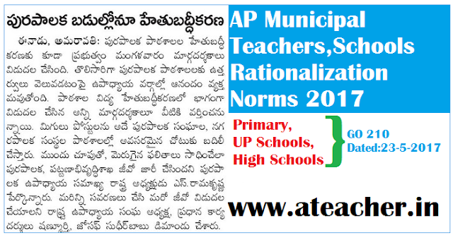 AP Municipal Teachers,Schools Rationalization Norms 2017 for Primary,UP Schools,High Schools as per GO 210 Dated:23-5-2017