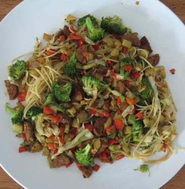 angel hair pasta with chicken sausage, red bell pepper, and broccoli