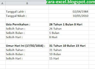Cara Menghitung Usia Excel
