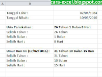 Rumus Hitung Umur di Excel