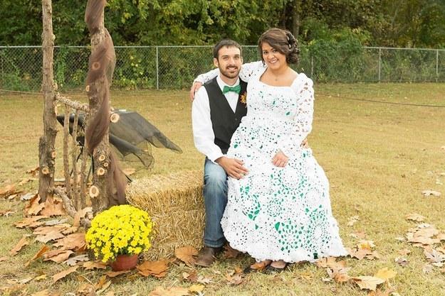 Vestido de noiva de crochê