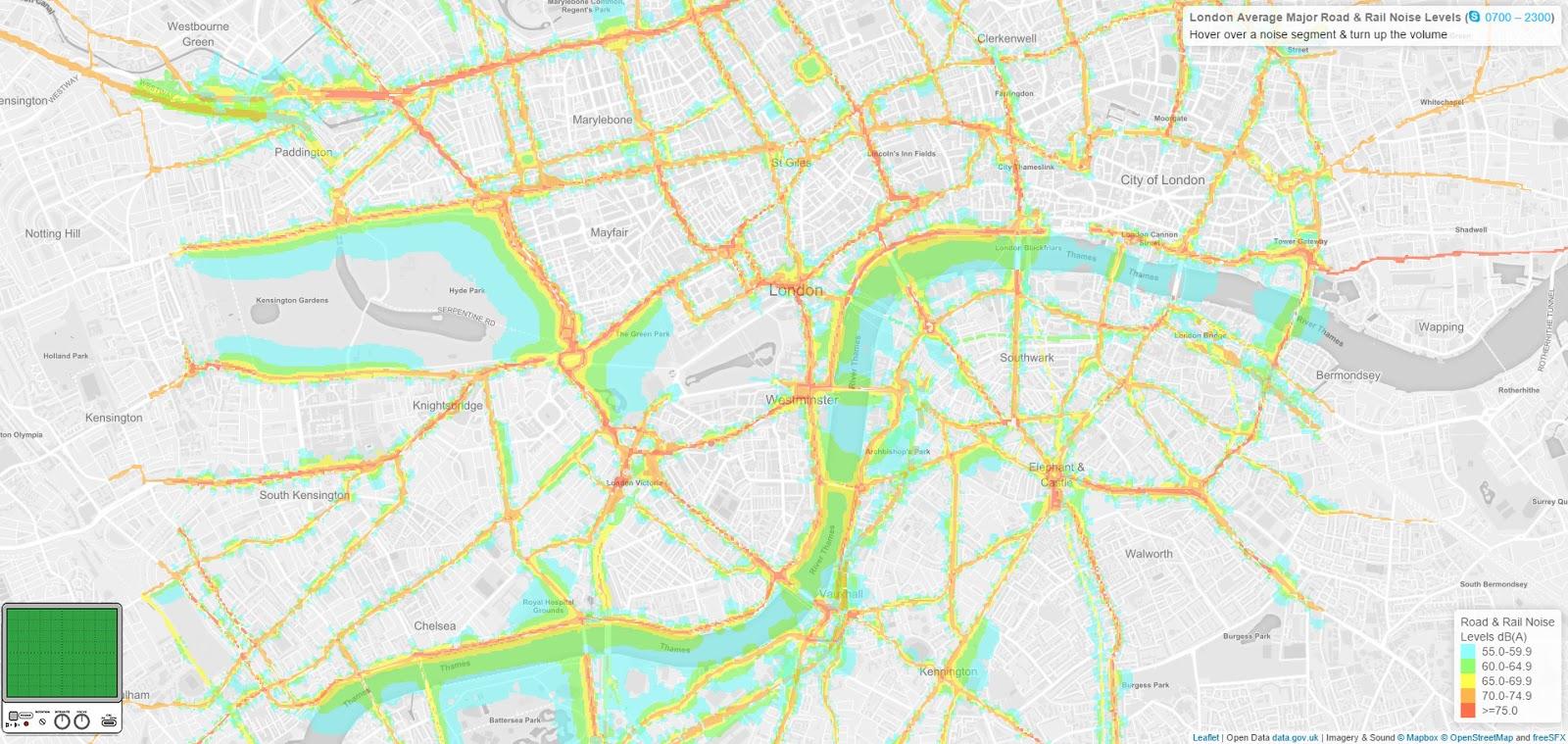 London average major road and rail noise levels