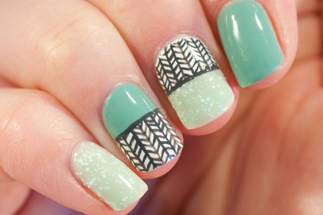 Green Fish Bone Pattern Nails with OPI Mermaid's tears and pa AA108