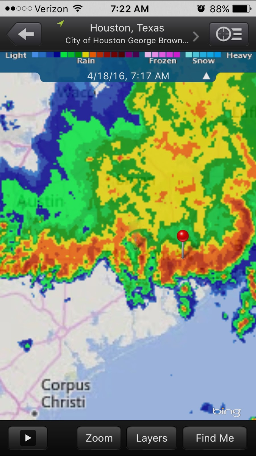 the dot is us downtown i wish this radar was animated the rain has not stopped it s what they call a self sustaining storm one weather person said it is