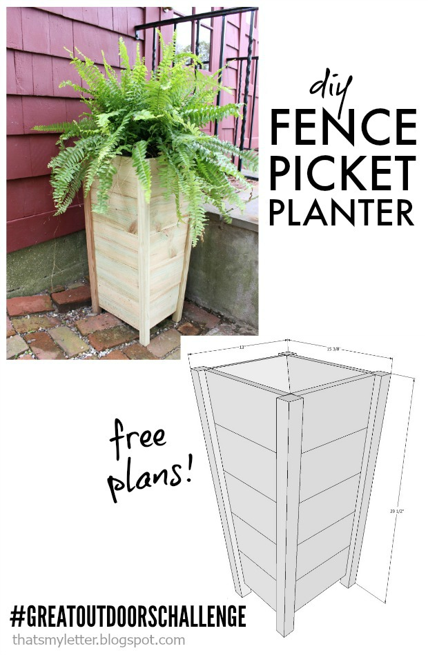 diy fence picket planter free plans