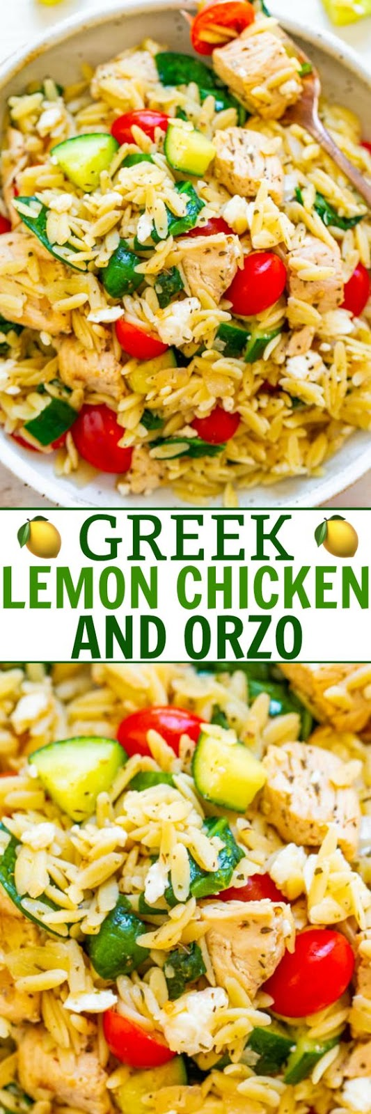 Greek Lemon Chicken and Orzo – EASY, ready in 25 minutes, and feeds a crowd!! Juicy lemon chicken with orzo, fresh spinach, cucumbers, and tomatoes make this a dinnertime WINNER! Great for parties, picnics, and potlucks!