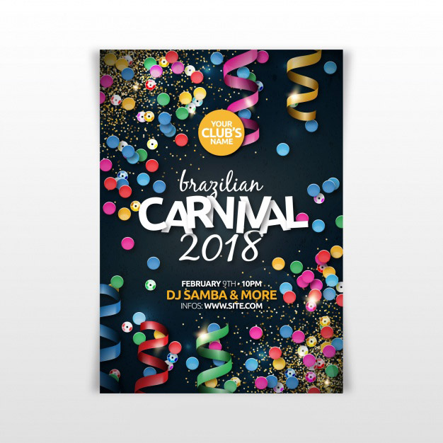 Realistic brazilian carnival party flyer/poster Free Vector