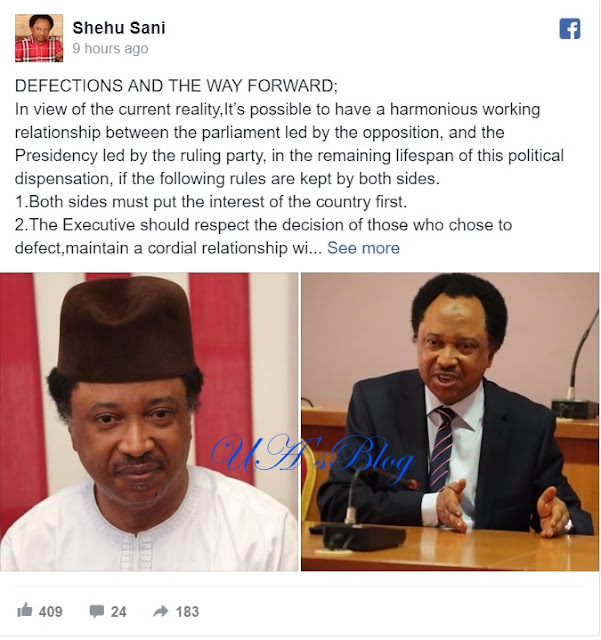 How Buhari Administration Should Treat APC Defectors - Senator Shehu Sani
