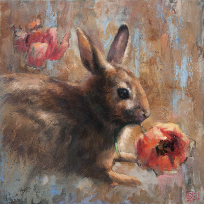 Garden Nemesis, Eastern Cottontail Rabbit, painting, oil on panel, artist Shannon Reynolds © 2016