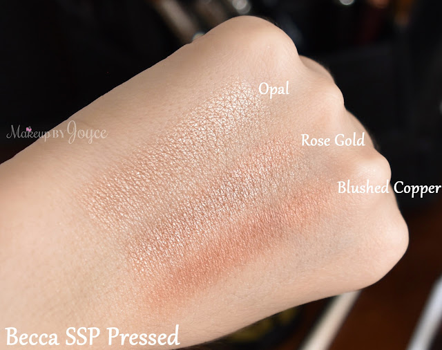 Becca Shimmering Skin Perfector Pressed Opal Rose Gold Blushed Copper Swatches