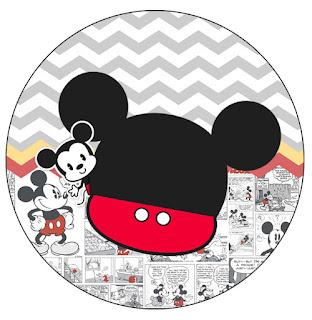Mickey Vintage Bebé: Wrappers y Toppers para Cupcakes para Imprimir Gratis.