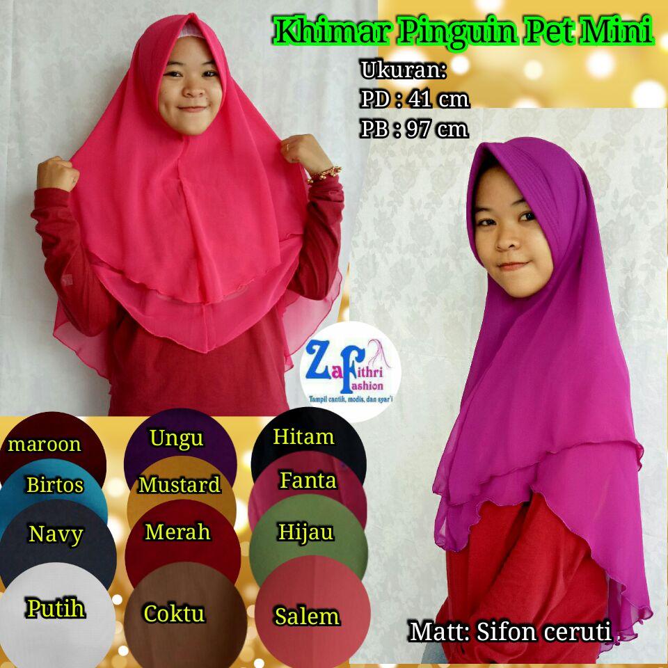 Toko Online Jual Jilbab Khimar Syari Sifon Ceruti Polos Motif Model Gamis Panjang Pinguin Pet 2 Layer Bahan