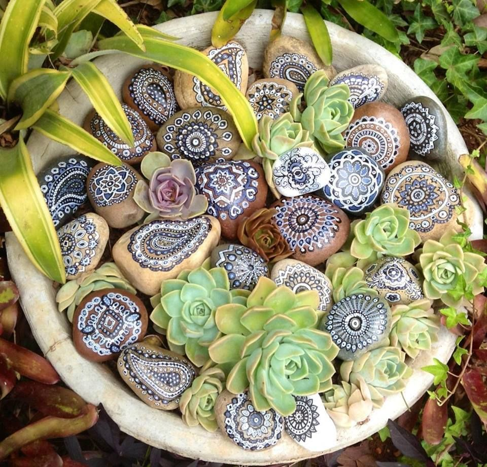 succulent inspired mandalas painted on stones