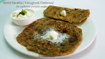 Punjabi Methi Paratha Recipe / Fenugreek Flatbread / How To Make Methi Paratha