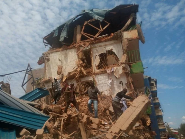 7-storey building collapse in Kenya trapping scores of people (Photos)