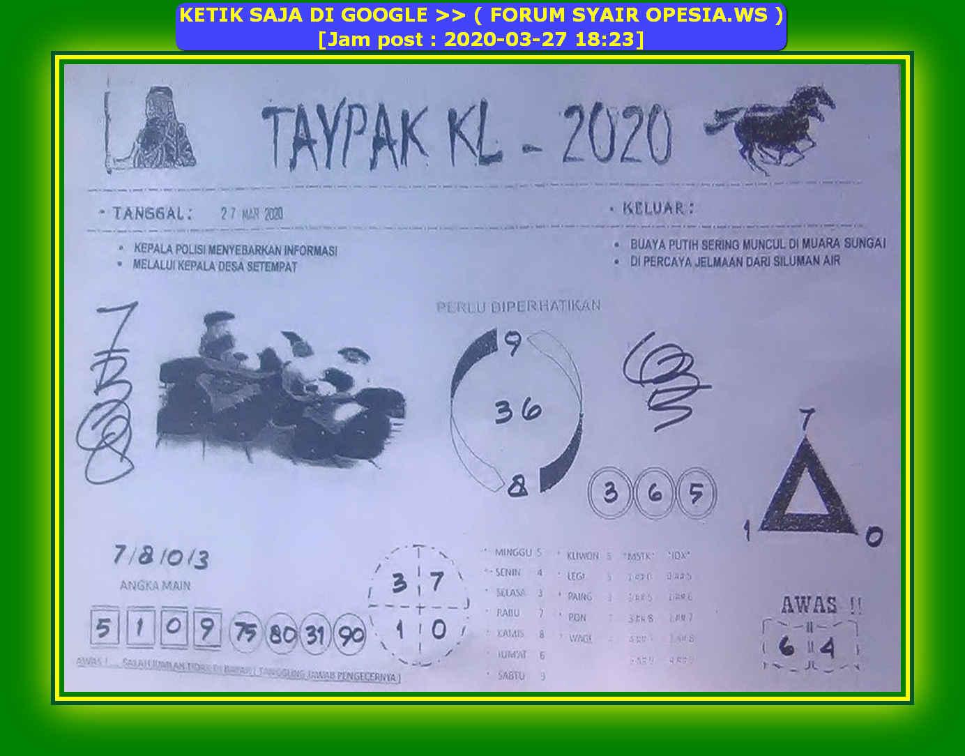 Kode syair Hongkong Jumat 27 Maret 2020 37