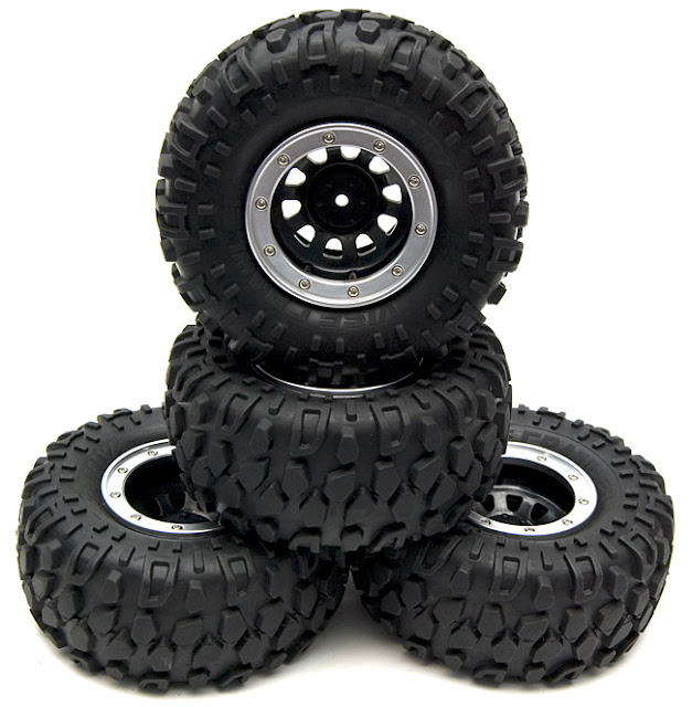 Tamiya CR-01 Toyota Land Cruiser wheels and tires