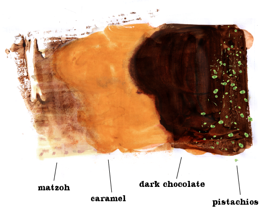 Chocolate Caramel Matzoh Crunch, Matzah bark, Lauren Monaco Illustration