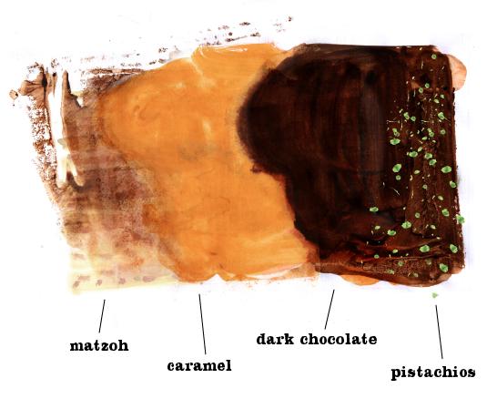 Chocolate Caramel Matzoh Crunch, Matzah bark, Lauren Monaco Illustration