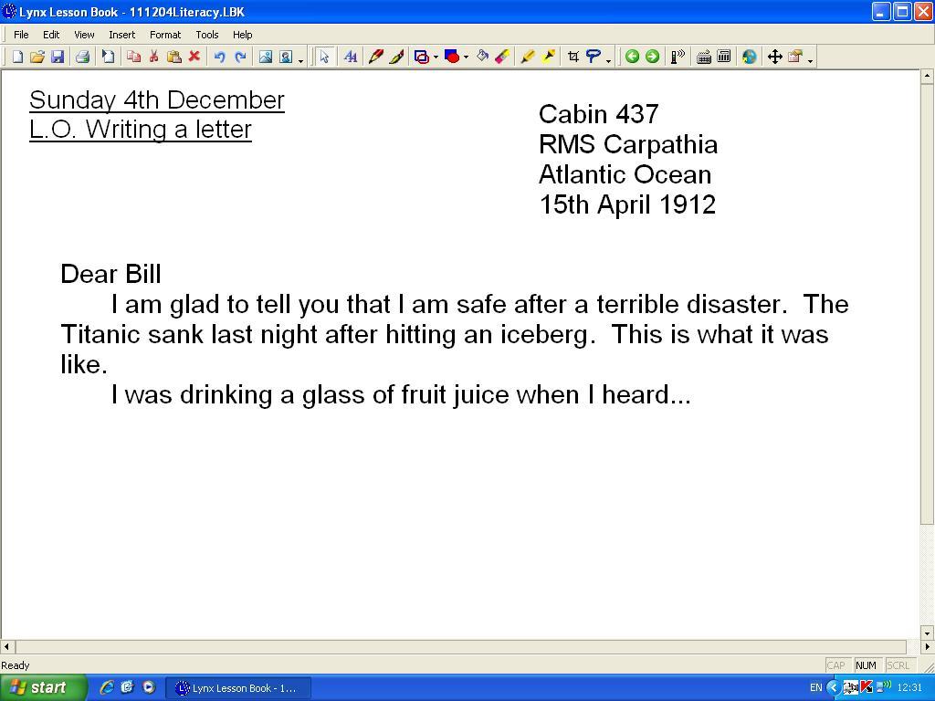 Mr Howe S Class Literacy Writing An Informal Letter
