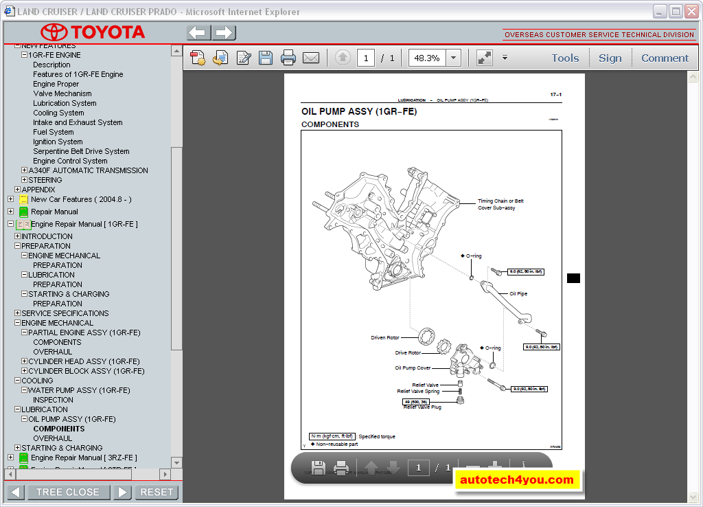 Toyota Land Cruiser Prado 120125 Service Manual ~ Service & Spare Parts Catalog