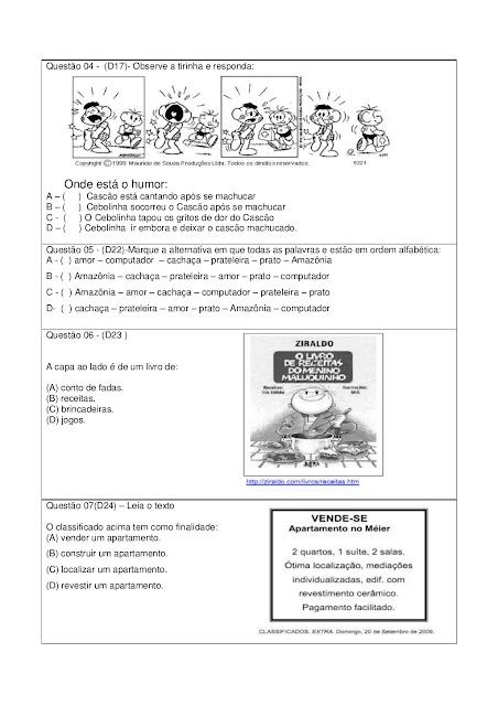 SIMULADO 4ANO FUNDAMENTAL