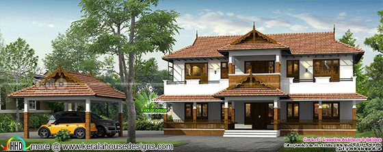 Traditional Kerala home with detached car porch