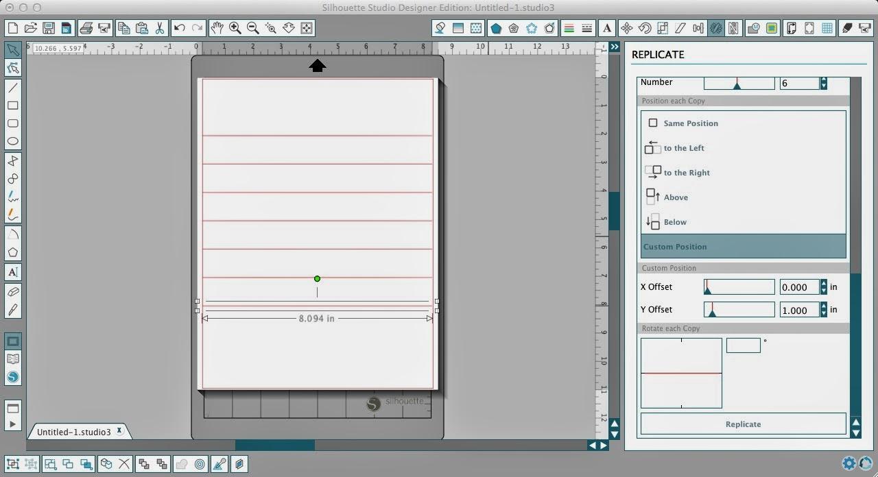 Weeding lines, Silhouette Studio, Silhouette tutorial, replicate, spacing
