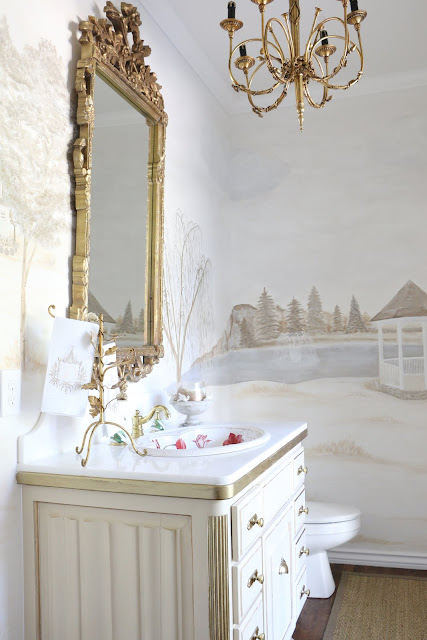 Vintage I painted this existing built in to give the look of an old worn antique piece The full tutorial is on week one The towel stand and marble bowl are both