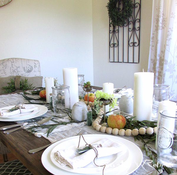 White summer tablescape using inexpensive items that anyone can find or buy