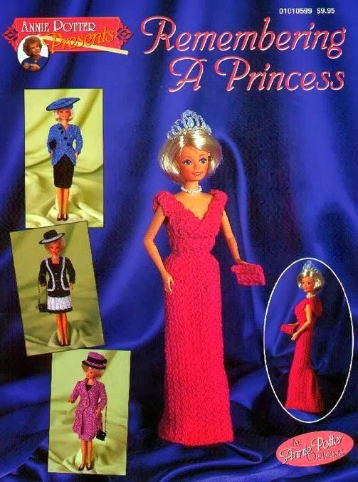Crochê para Barbie vestido da princesa Diana