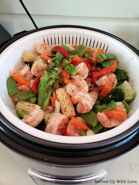 Garlic Butter Shrimp and Vegetables in a rice cooker recipe at Served Up With Love